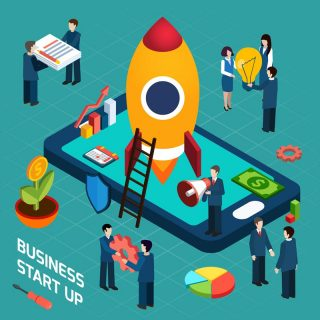New business startup company successful launch planning concept with rocket start symbol poster isometric abstract vector illustration